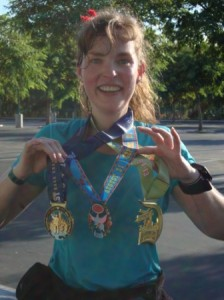 And finally...look at all the bling! I didn't even have the 10K medal with me...