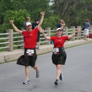 Running the Perth Kilt Run with my brother. Or rather, he ran it with me.