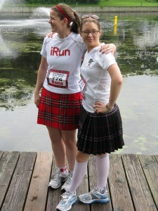 Chelsea and I rock the latest in Scottish/running fashions